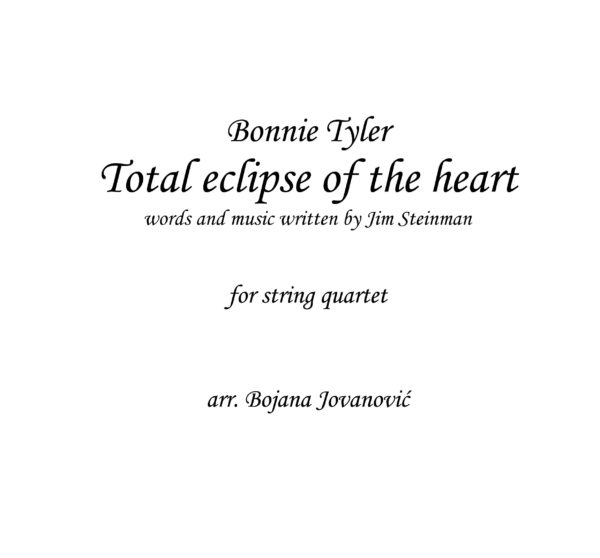 Total eclipse of heart (Bonnie Tyler) - Sheet Music