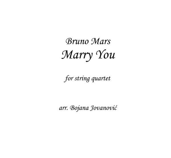 Marry you (Bruno Mars) - Sheet Music