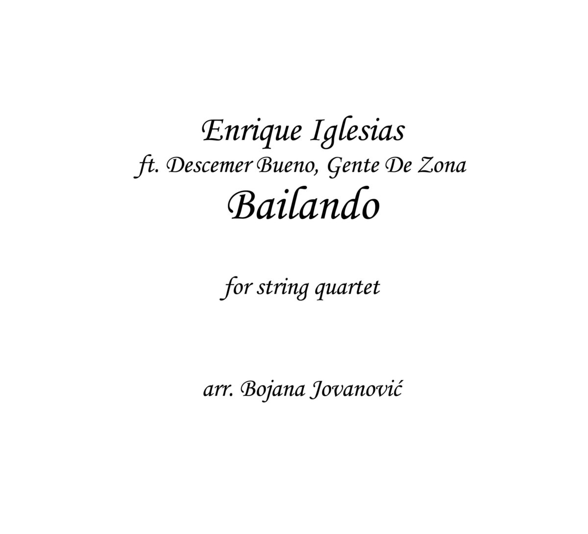 Bailando (Enrique Iglesias) - Sheet Music