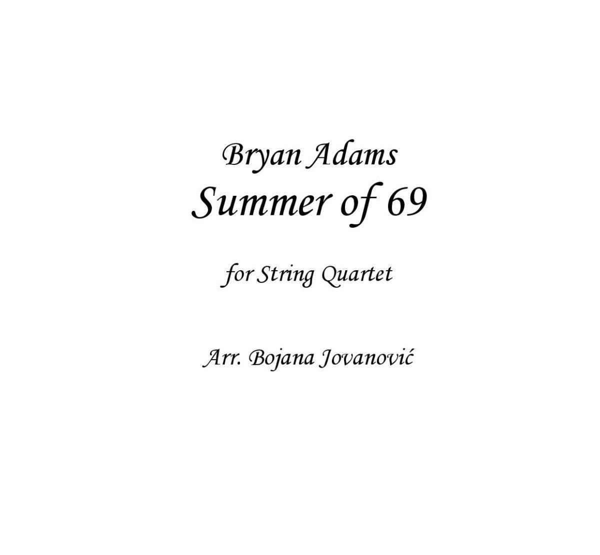Summer of 69 (Bryan Adams) - Sheet Music
