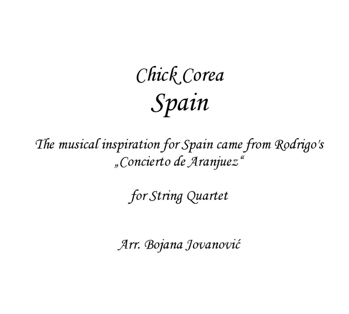 Spain (Chick Corea) - Sheet Music