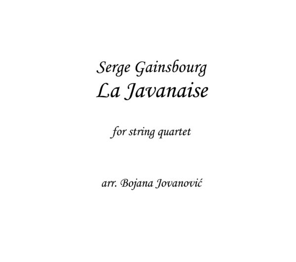 La Javanaise (Serge Gainsbourg) - Sheet Music