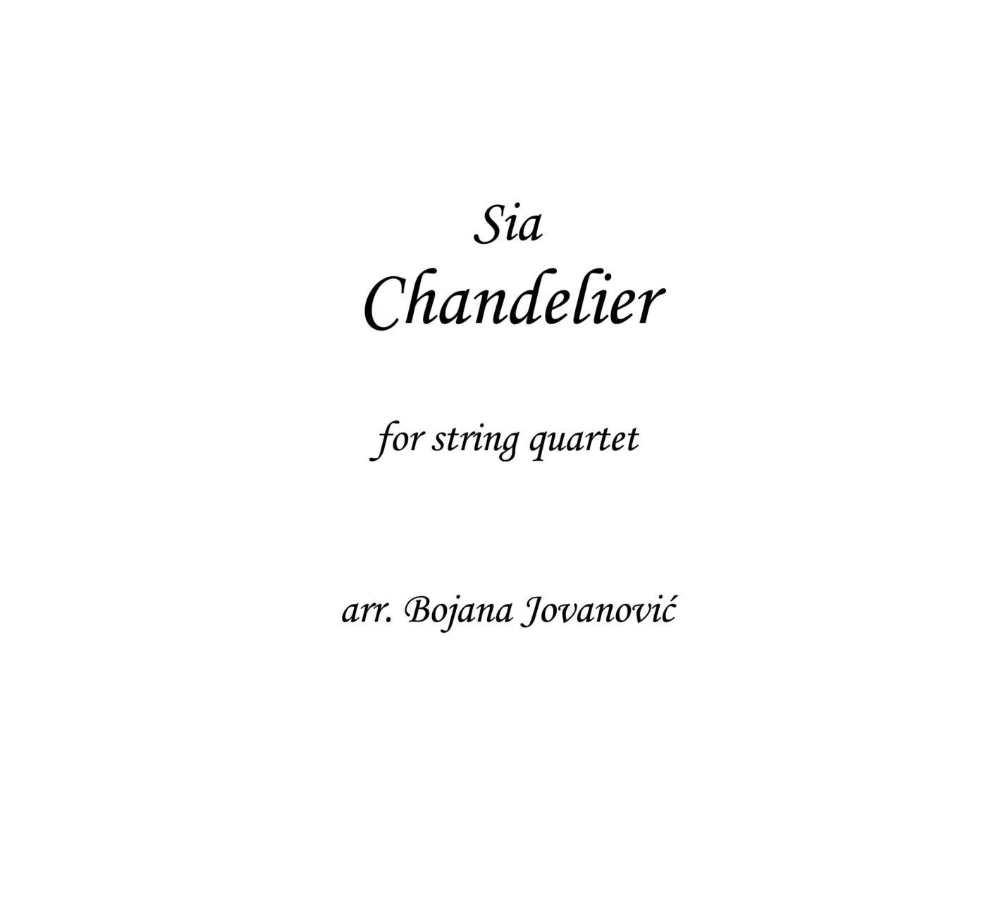 Chandelier Sheet music - Sia - for String Quartet - Violin - Viola ...