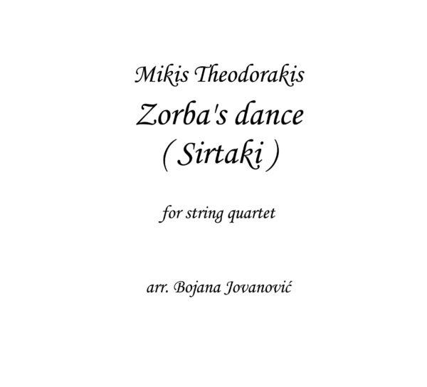 Zorba's dance (Mikis Theodorakis) - sheet music