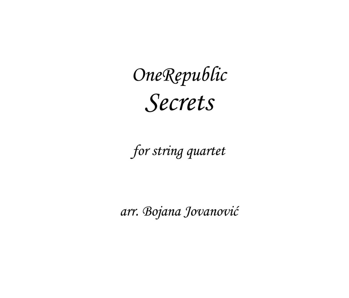 Secrets (OneRepublic) - Sheet Music