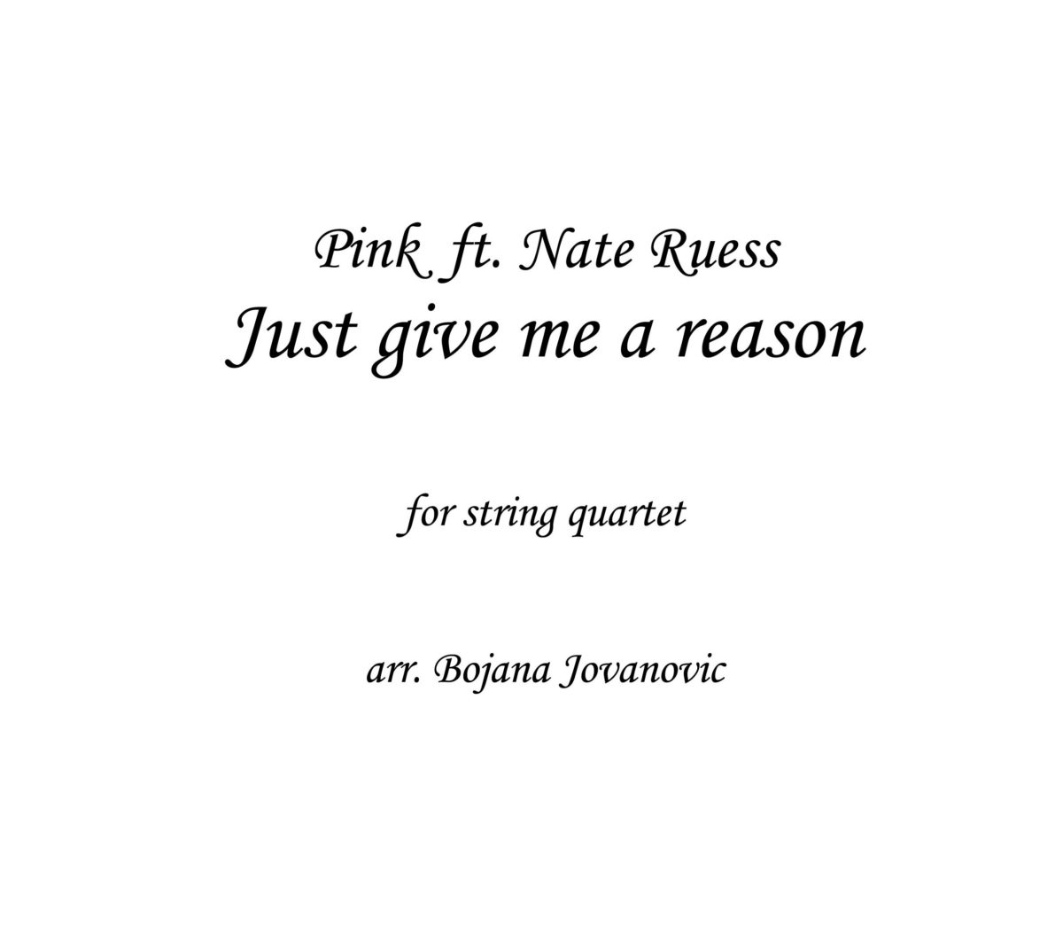Just give me a reason (Pink) - Sheet Music