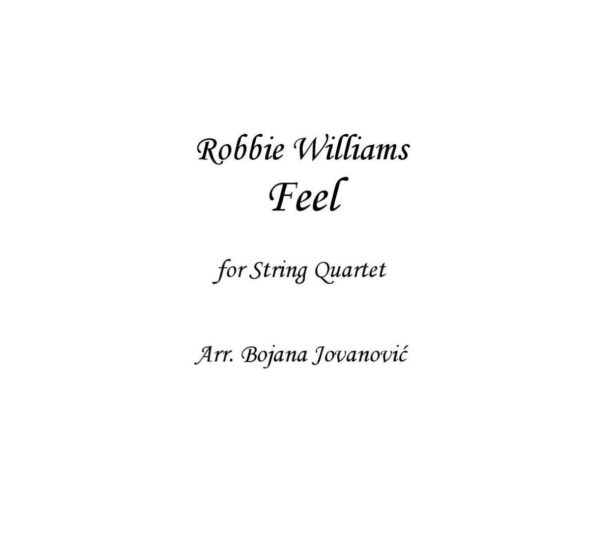 Feel (Robbie Williams) - Sheet Music