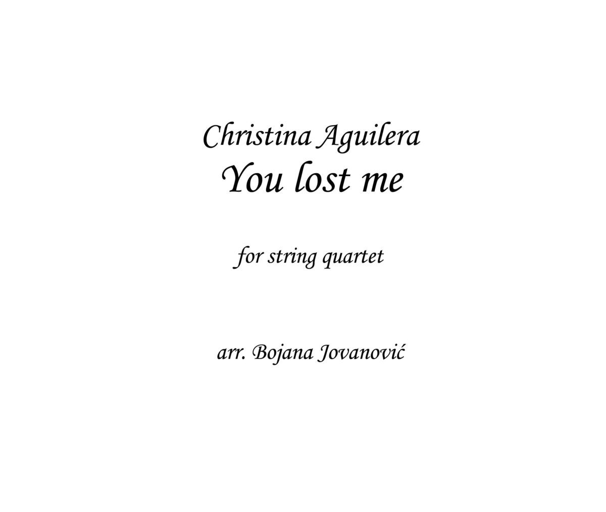 You lost me (Christina Aguilera) - Sheet Music