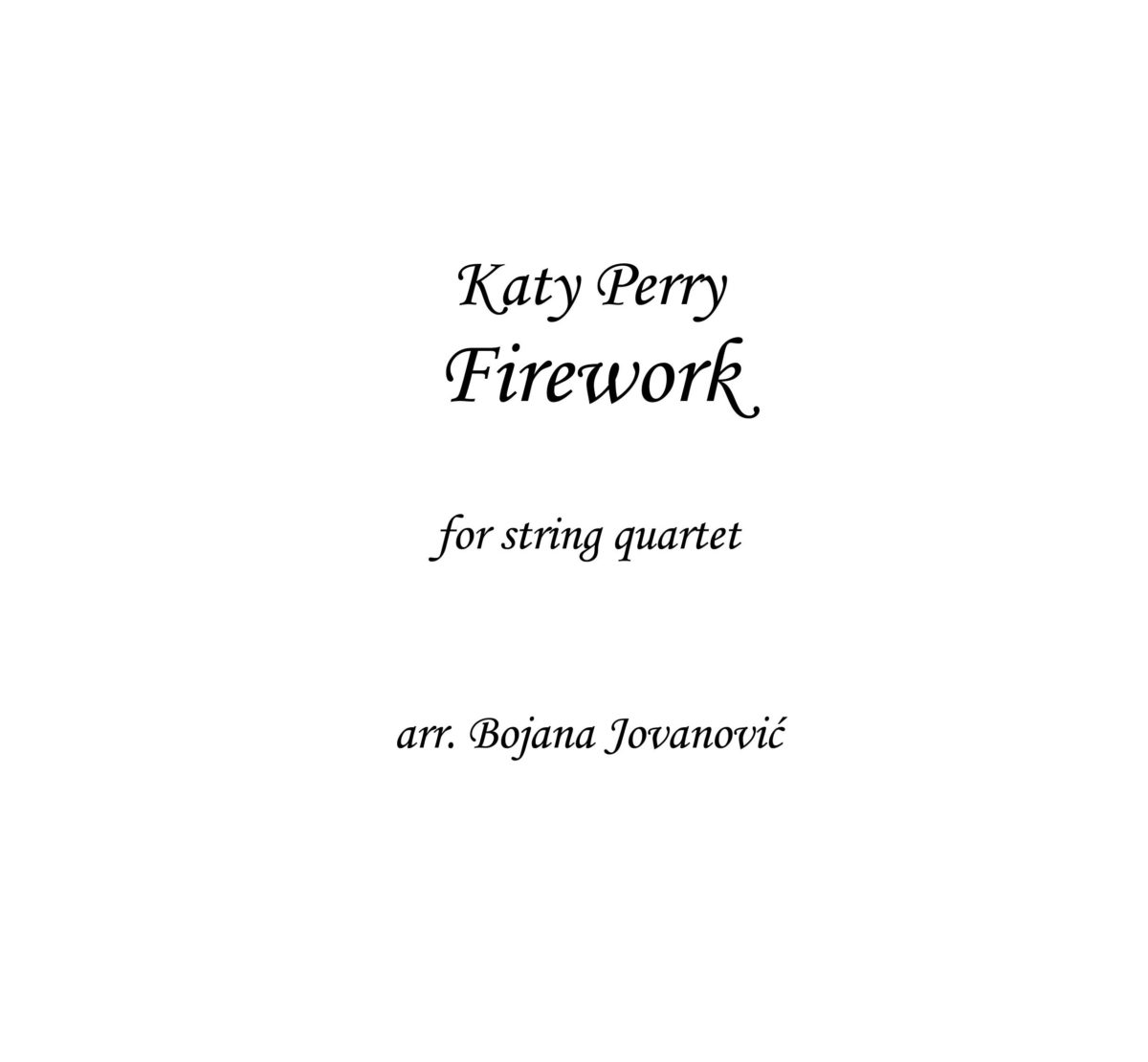 Firework (Katy Perry) - Sheet Music