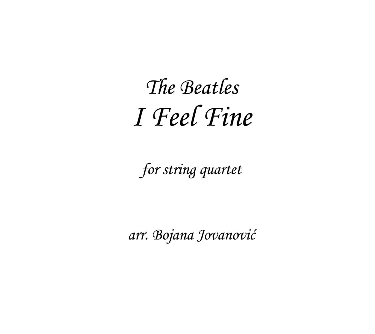 I feel fine (The Beatles) - Sheet Music