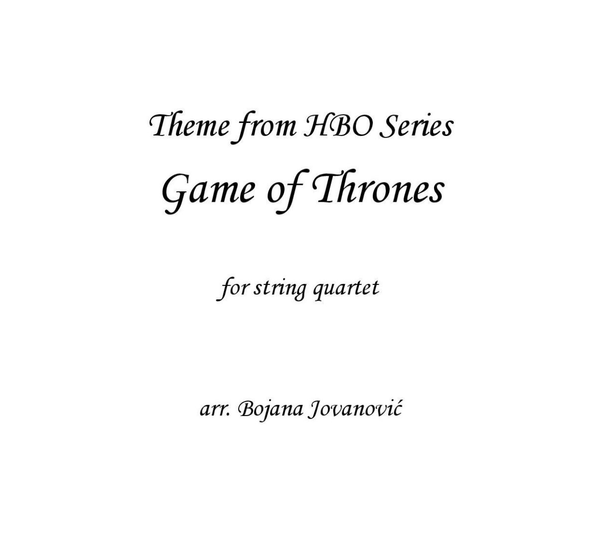 Game of thrones (Ramin Djawadi) - Sheet Music