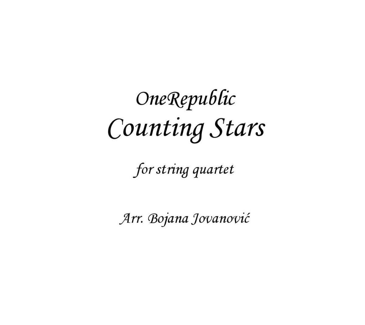 Counting stars (OneRepublic) - Sheet Music