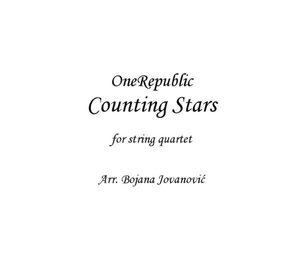 Counting stars (OneRepublic) - Sheet Music