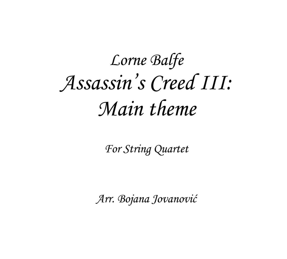 Assassin's Creed III: main theme (Lorne Balfe) - Sheet Music