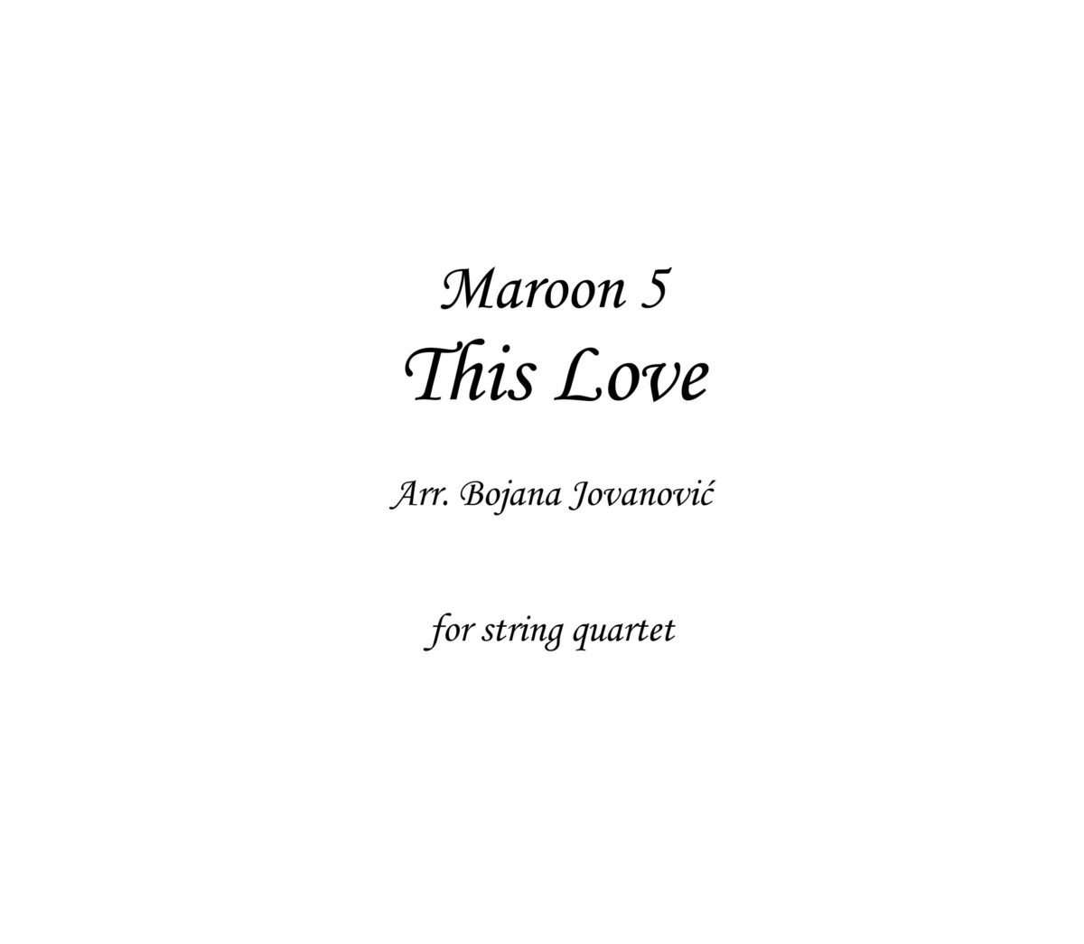 This Love (Maroon 5) - Sheet Music