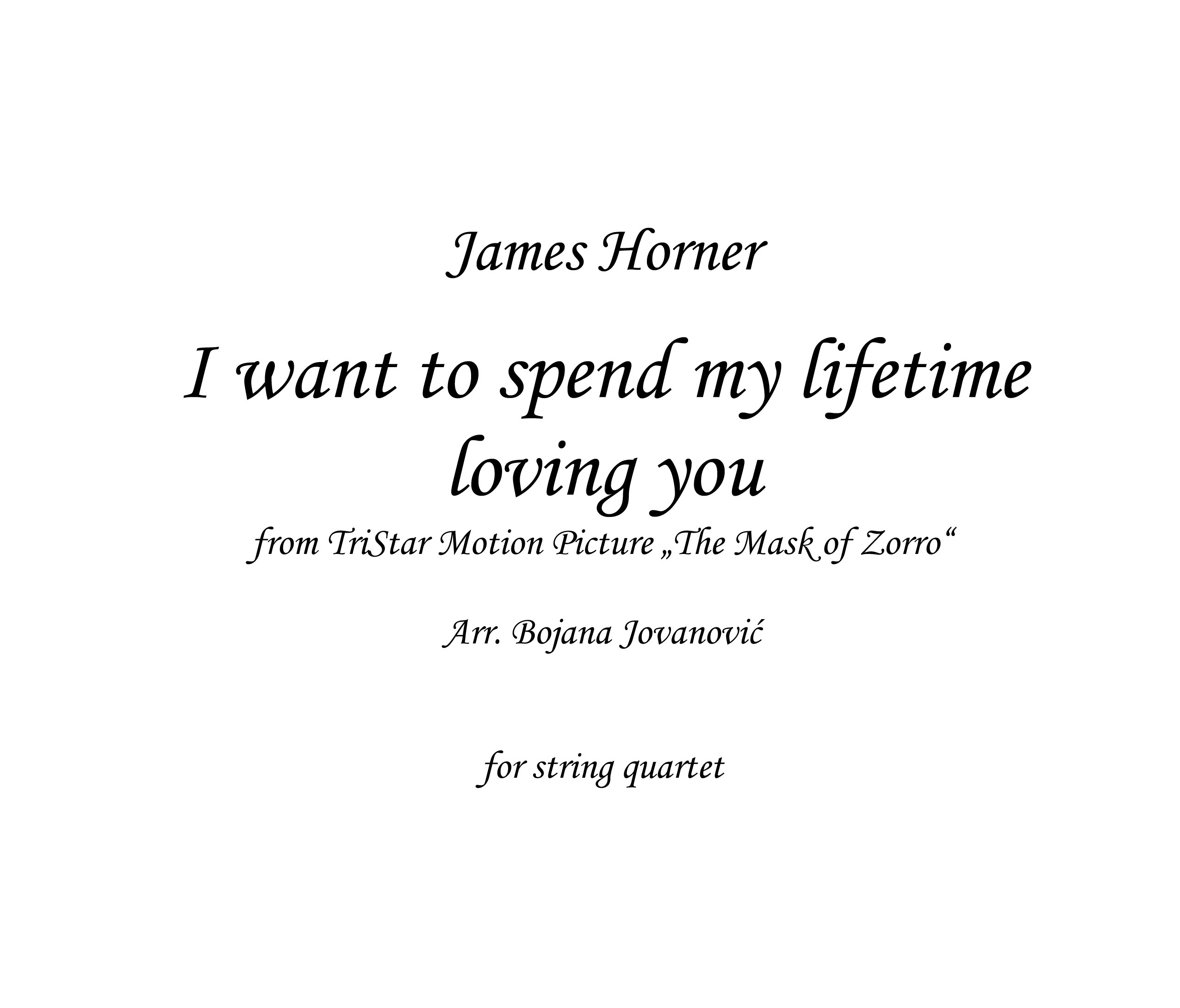 I want to spend my lifetime loving you Sheet music - James ...