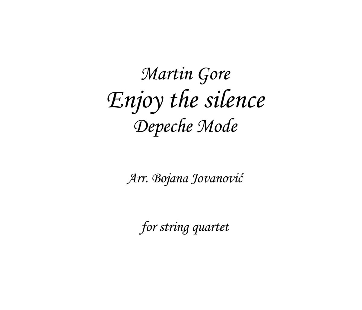 Enjoy the silence Sheet music (Depeche Mode)