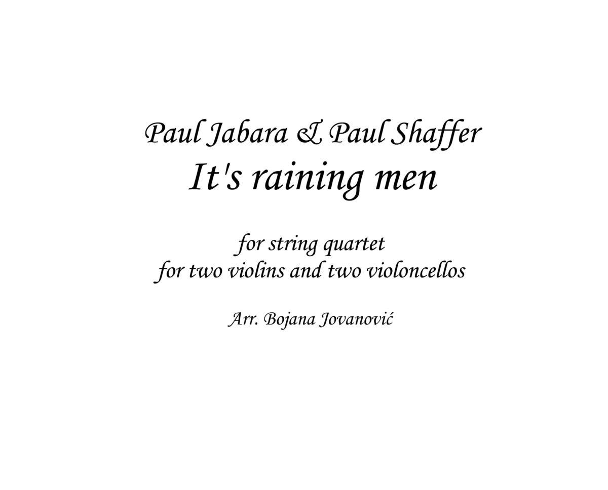 It's raining men Sheet music (Bridget Jones's Diary)