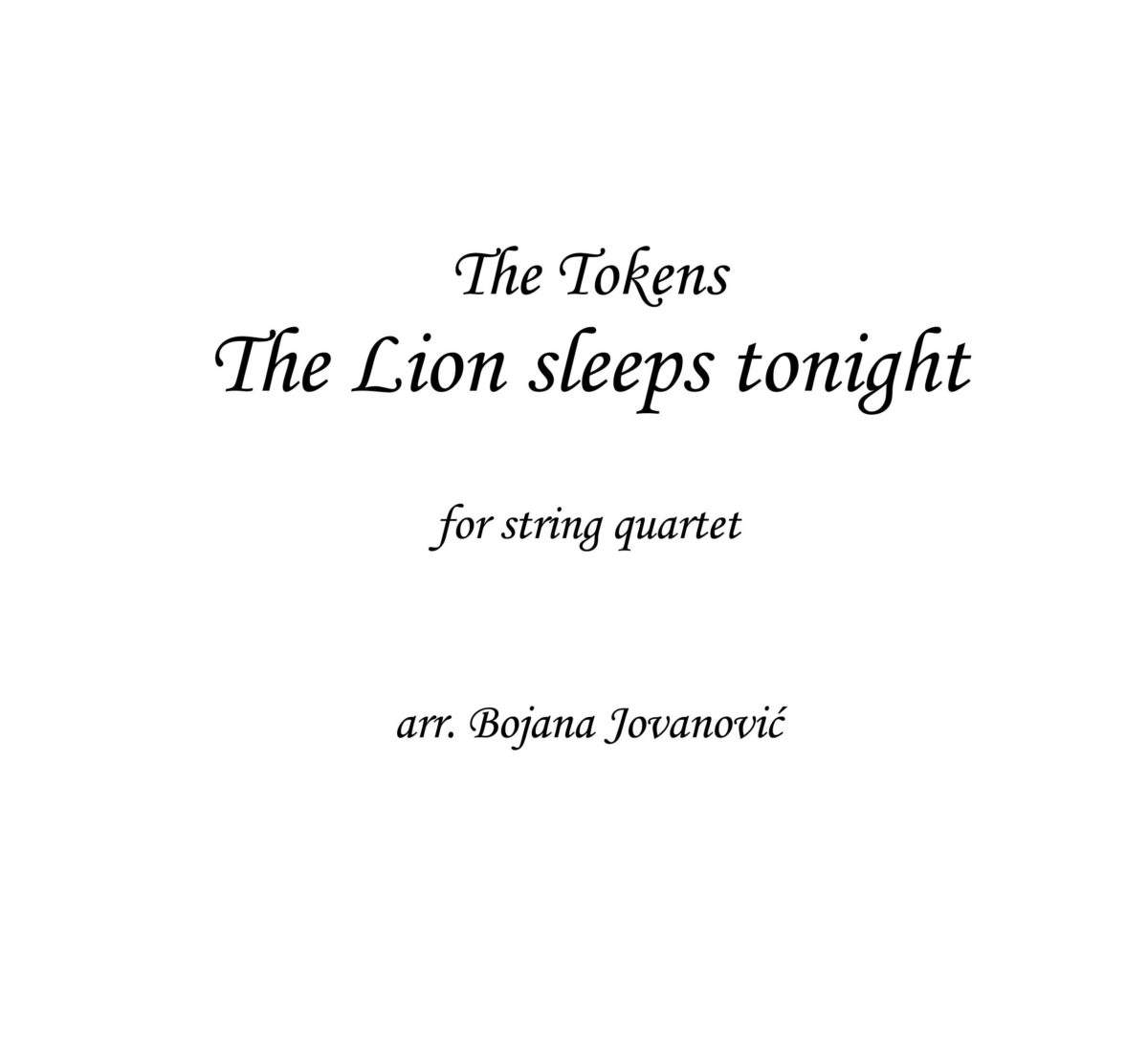 The Lion sleeps tonight (Lion King) - Sheet music