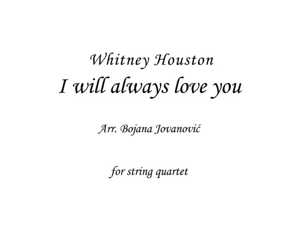 I will always love you (Whitney Houston) - Sheet music