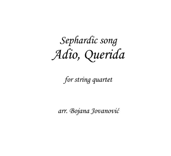 Adio Querida (Yasmin Levy) - Sheet Music