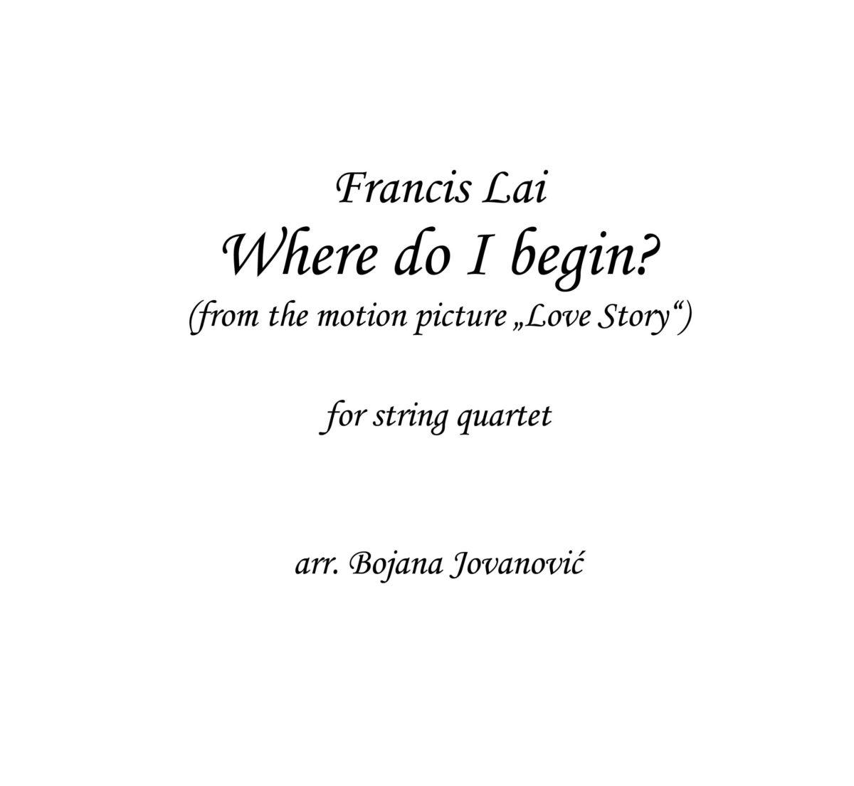 Where do I begin (The Love story) - Sheet music