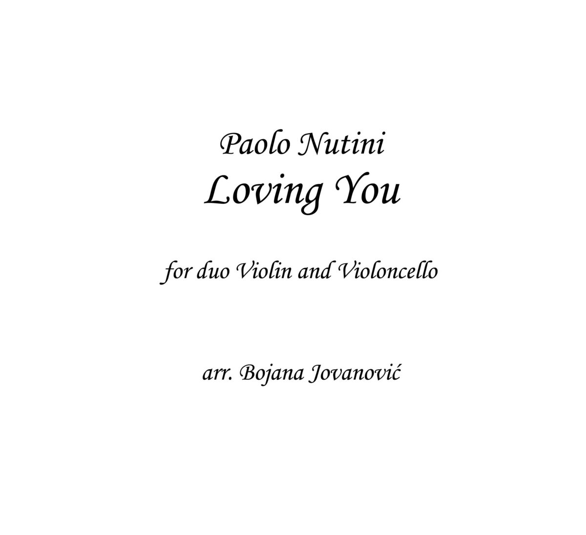 Loving You (Paolo Nutini) - Sheet Music