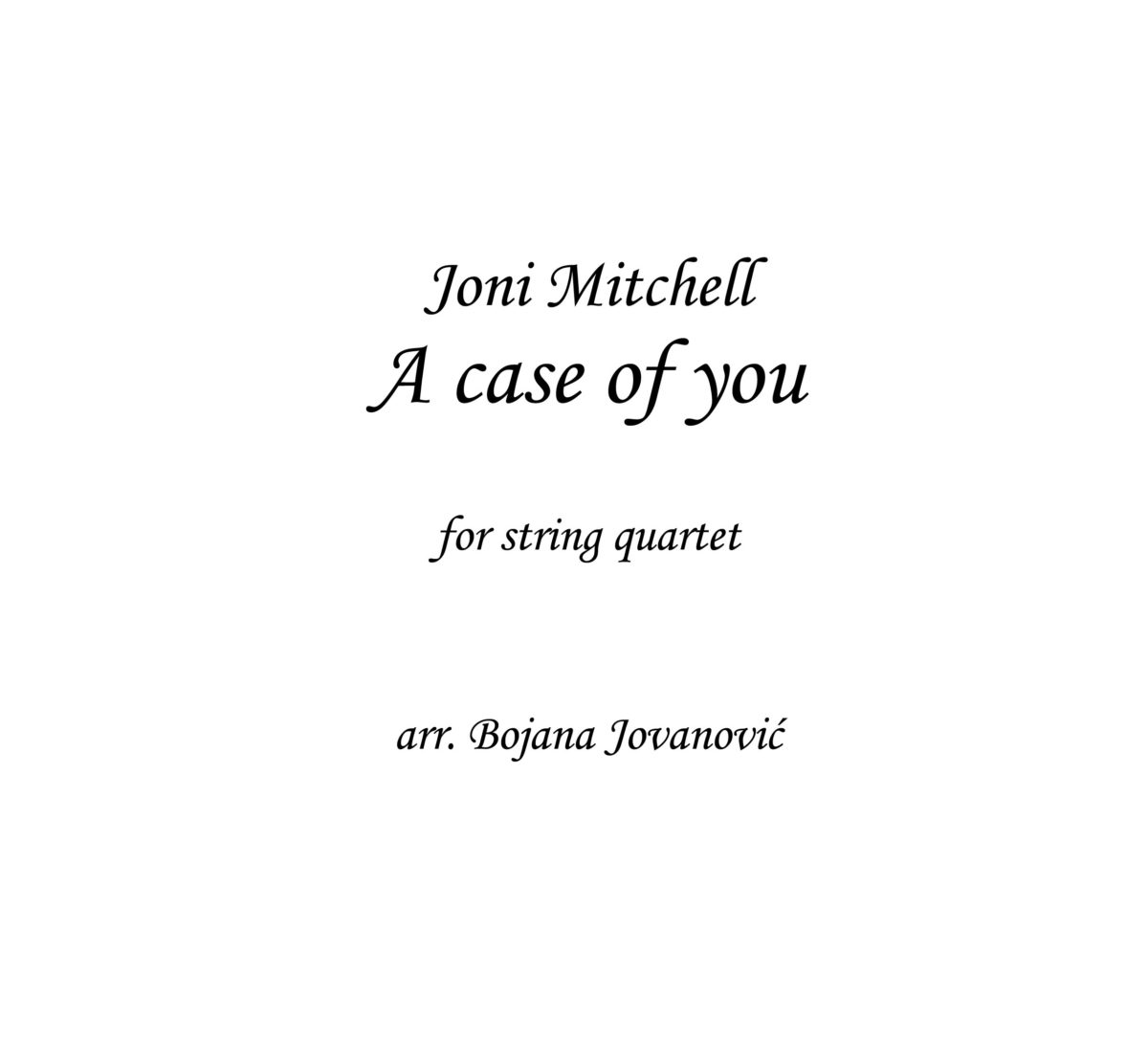 A case of you Joni Mitchell Sheet music
