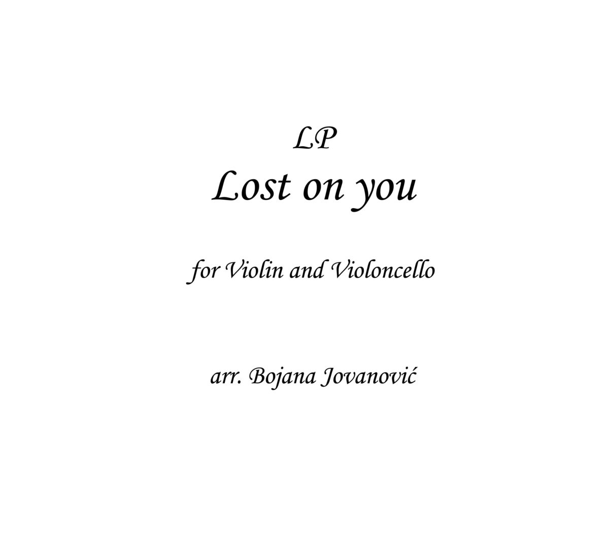 LP Lost on you Sheet music