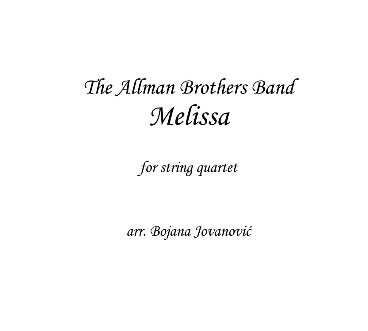 Melissa The Allman Brothers Band Sheet music