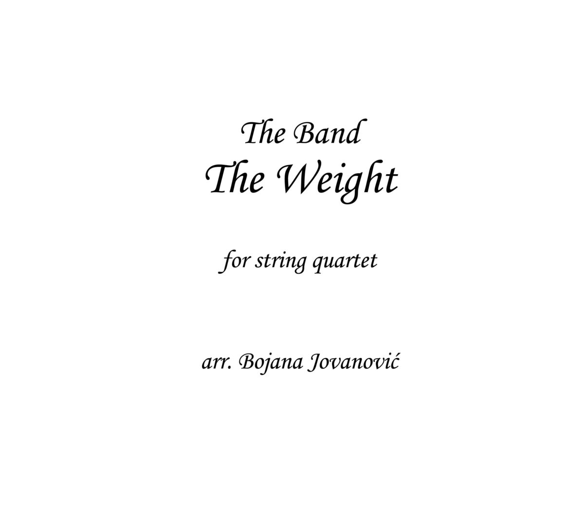 The Weight The Band Sheet music