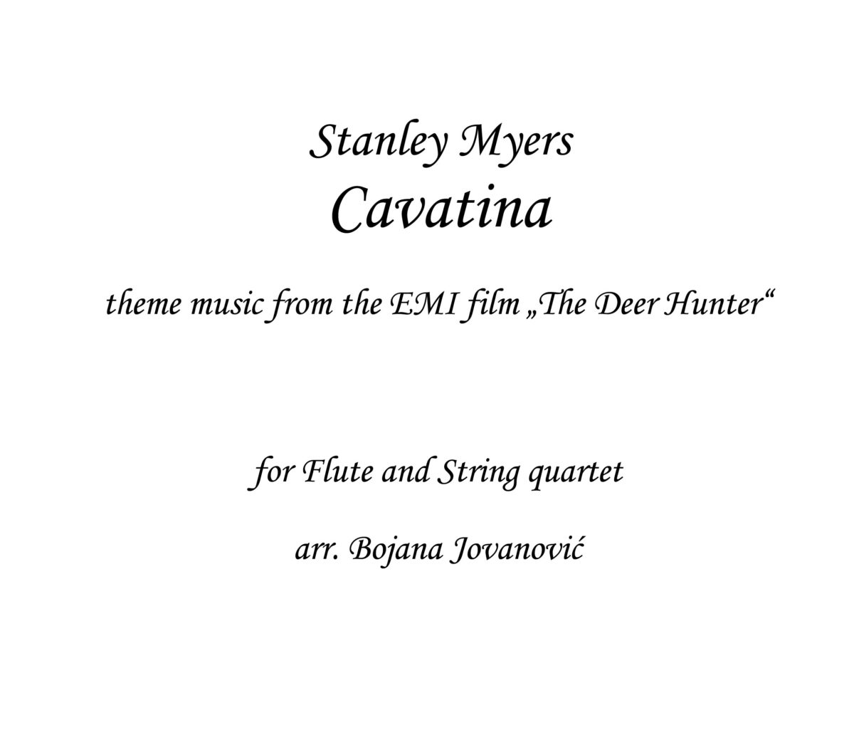 Cavatina Stanley Myers Sheet music