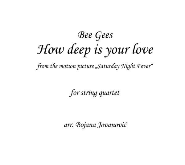 How deep is your love Bee Gees Sheet music