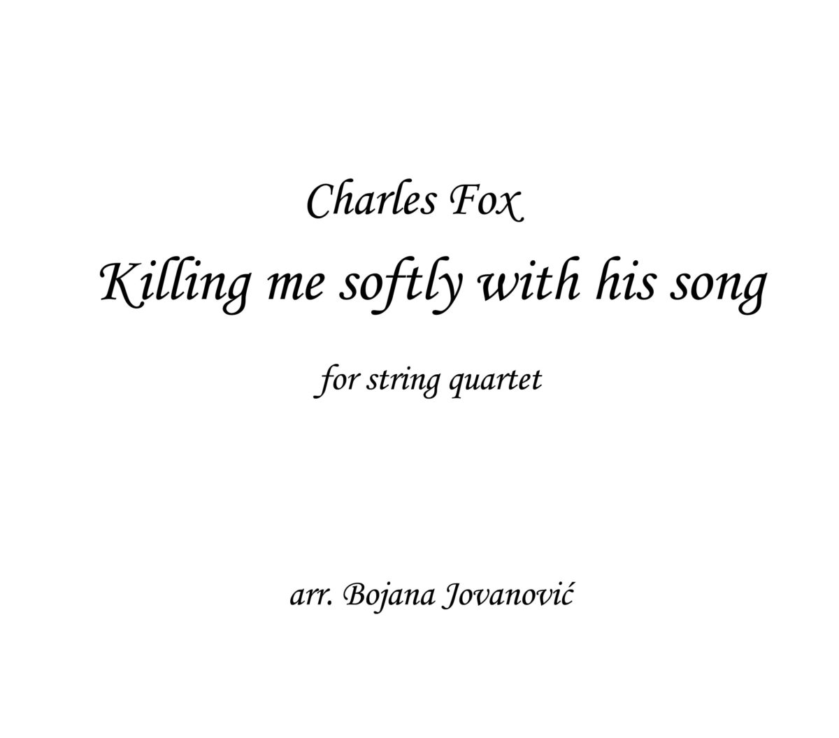 Killing me softly Charles Fox Sheet music