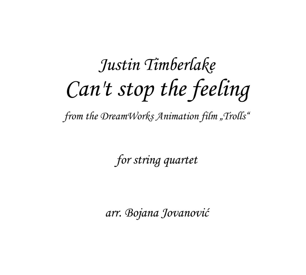 Can't stop the feeling Justin Timberlake Sheet music