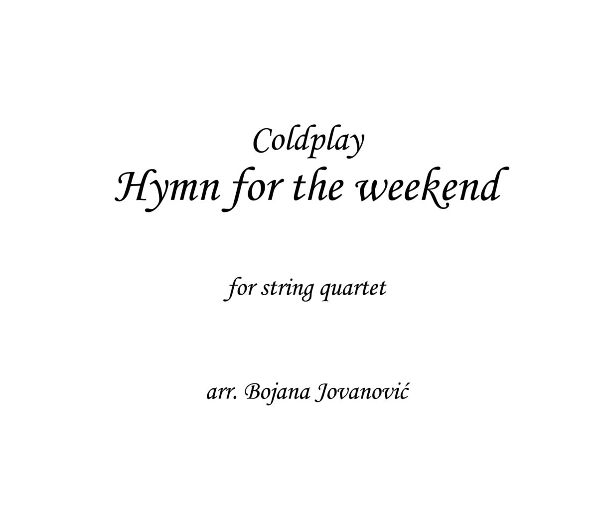 Hymn for the weekend Coldplay Sheet music