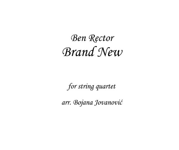 Brand New Ben Rector Sheet music