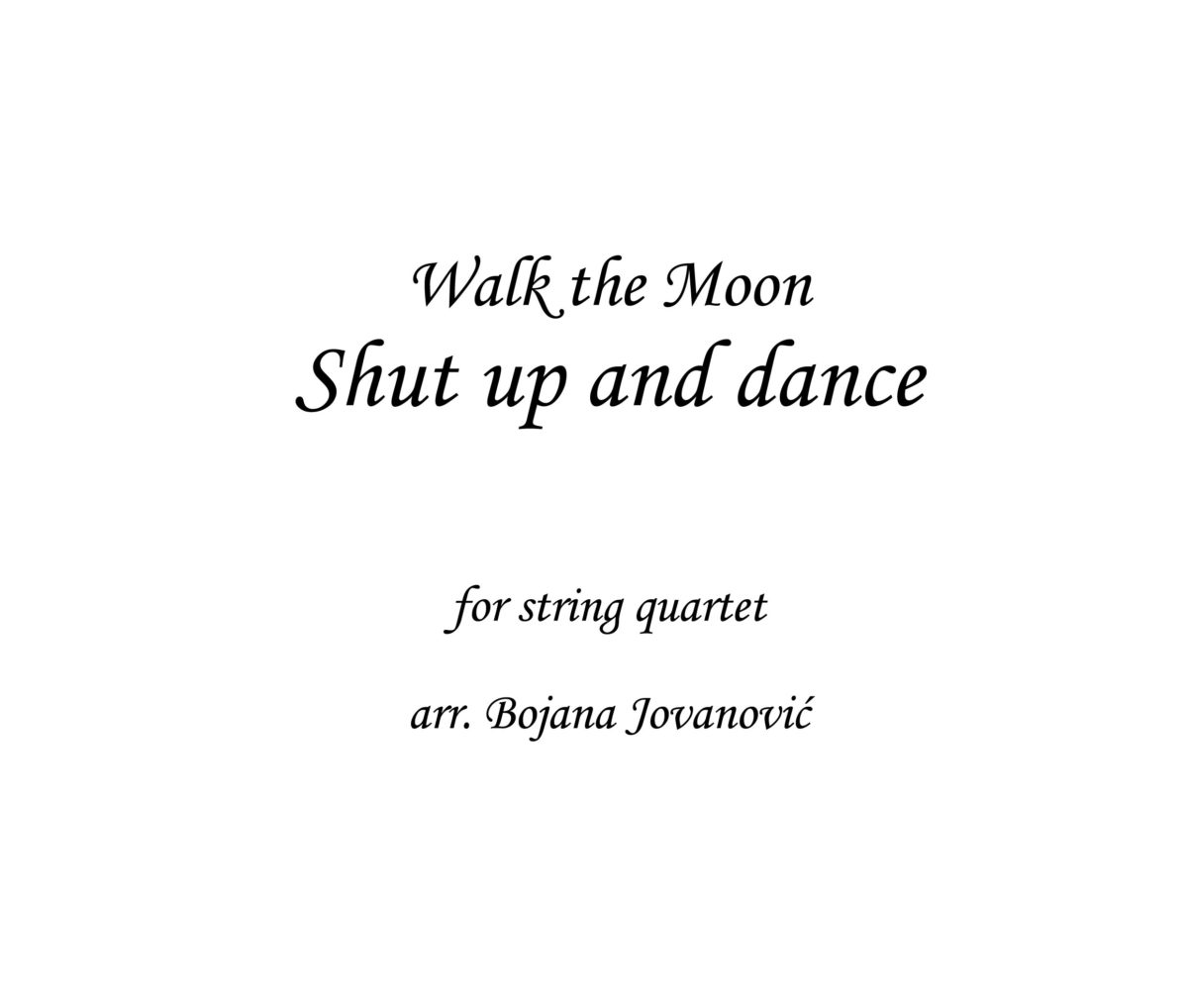 Shut up and dance Walk the Moon Sheet music