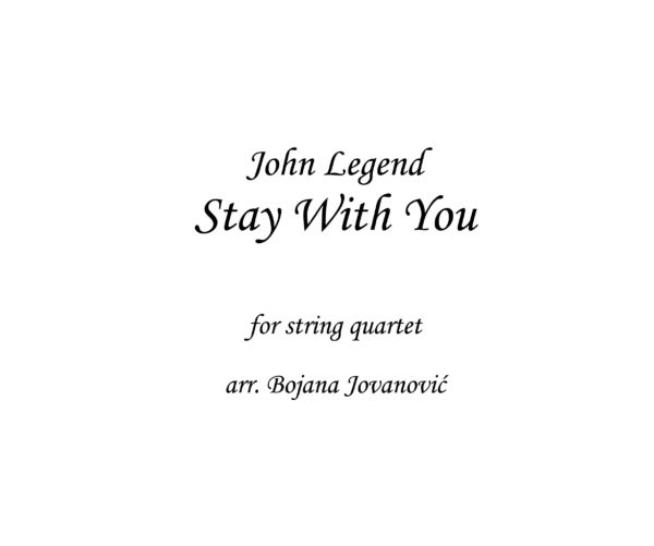 Stay With You John Legend Sheet music