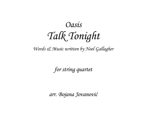 Talk tonight Oasis Sheet music