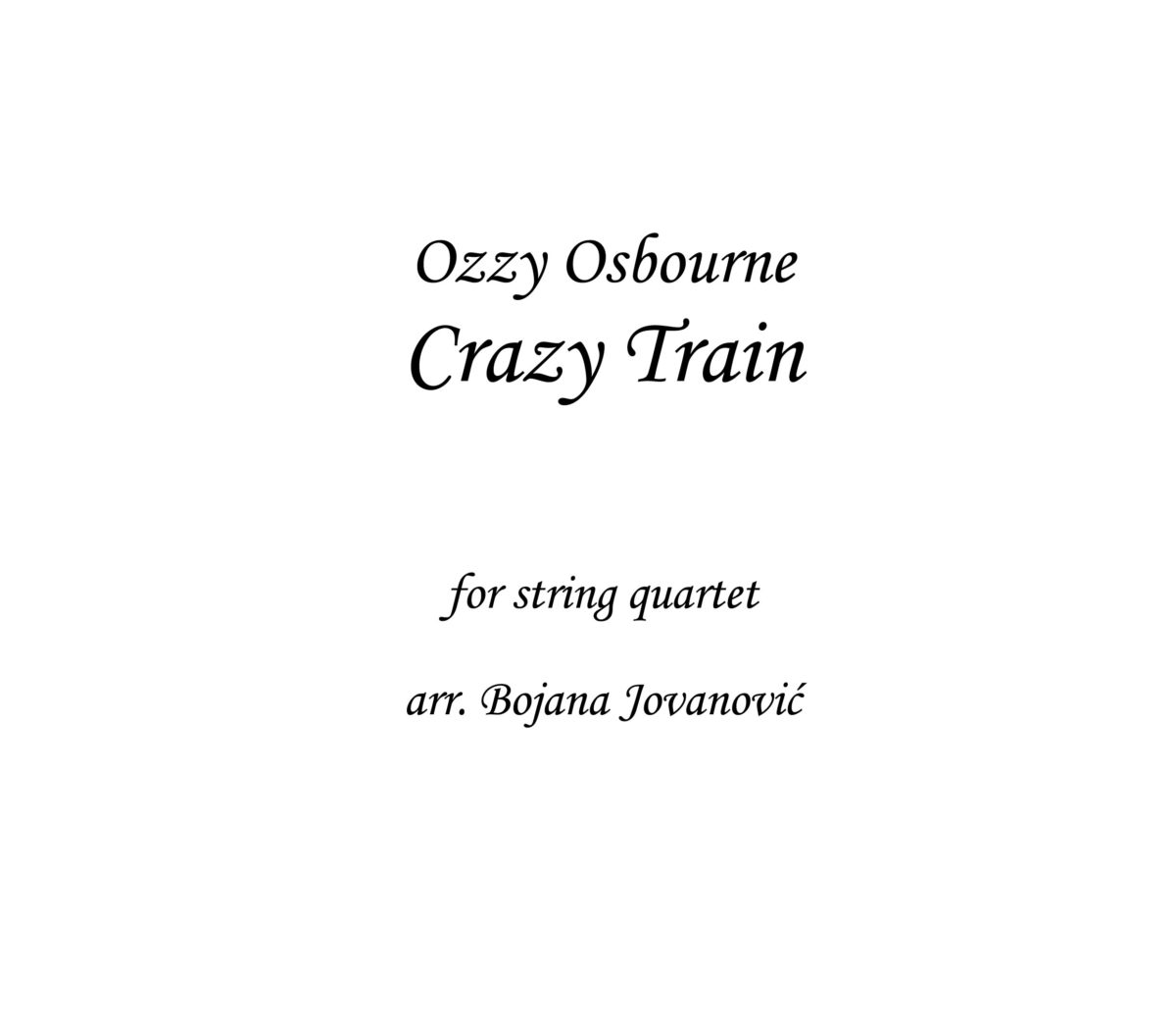 Crazy Train Ozzy Osbourne Sheet music