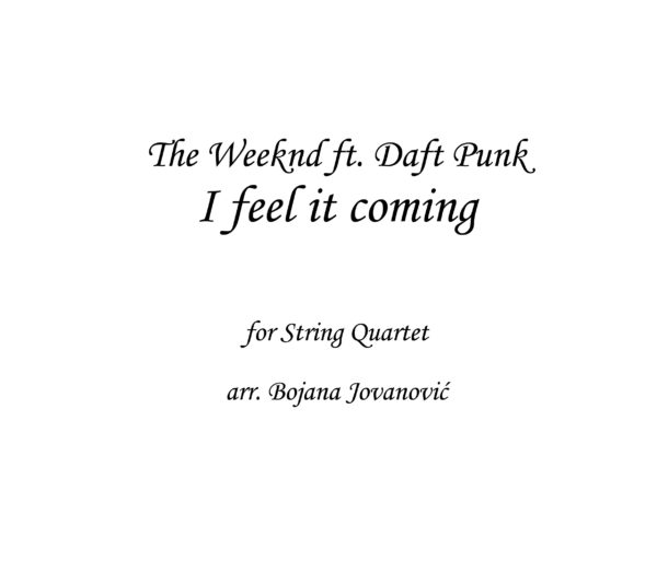 I feel it coming The Weeknd Sheet music
