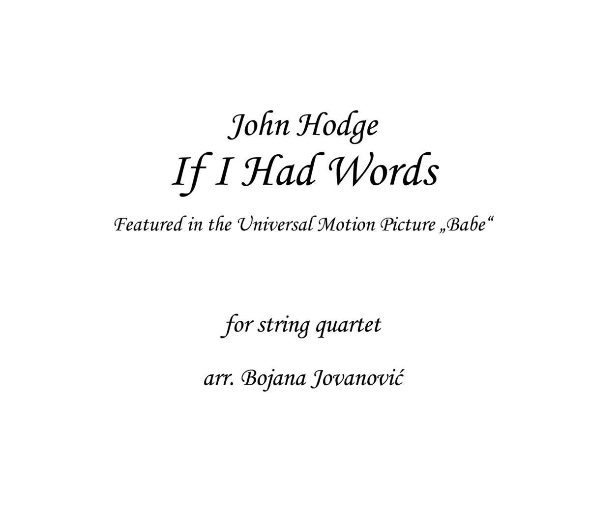 If I Had Words John Hodge Sheet music