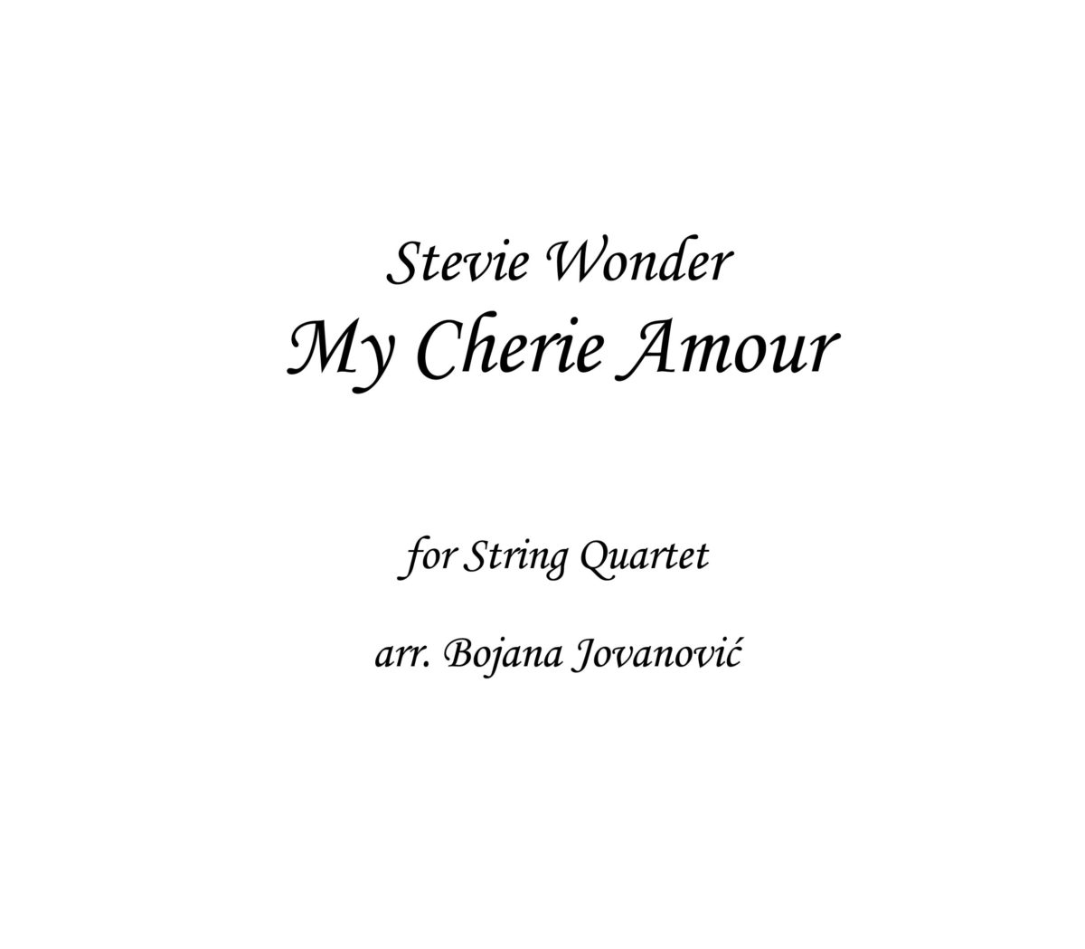 My Cherie Amour Stevie Wonder Sheet music