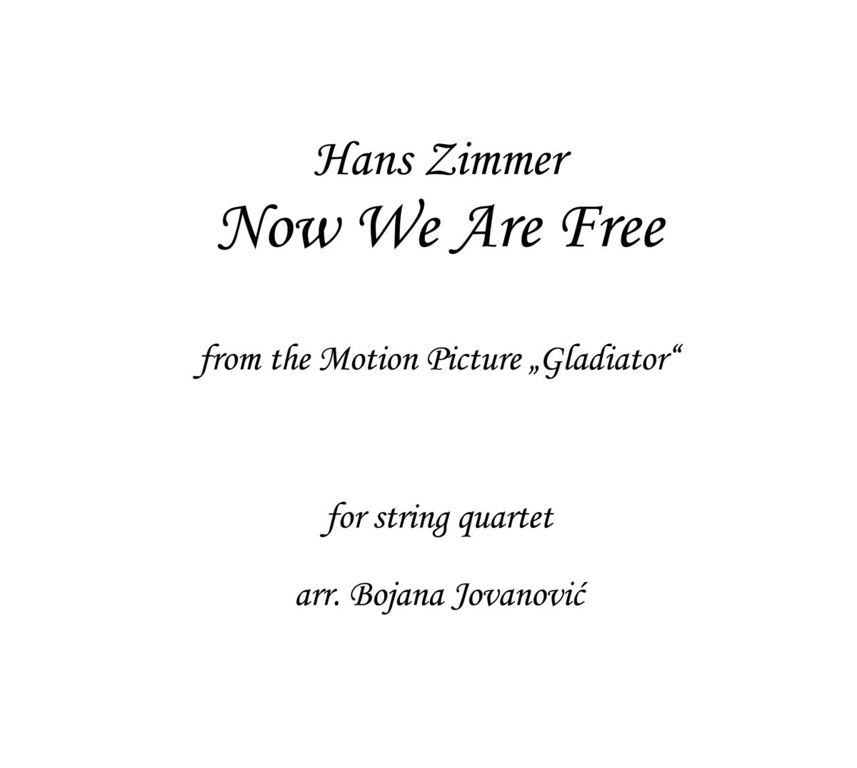 Now We Are Free Hans Zimmer Sheet music