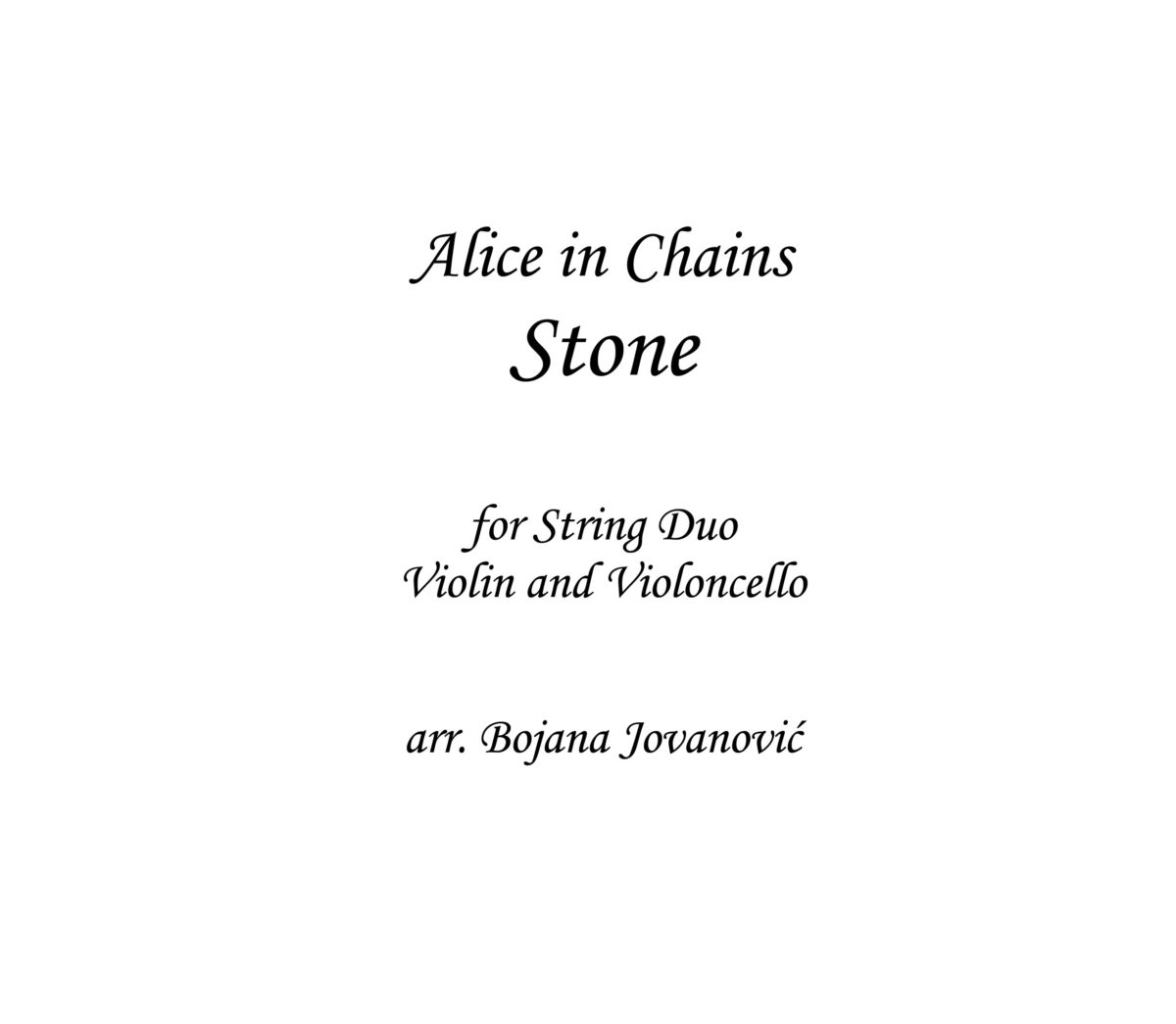 Stone Alice in Chains Sheet music