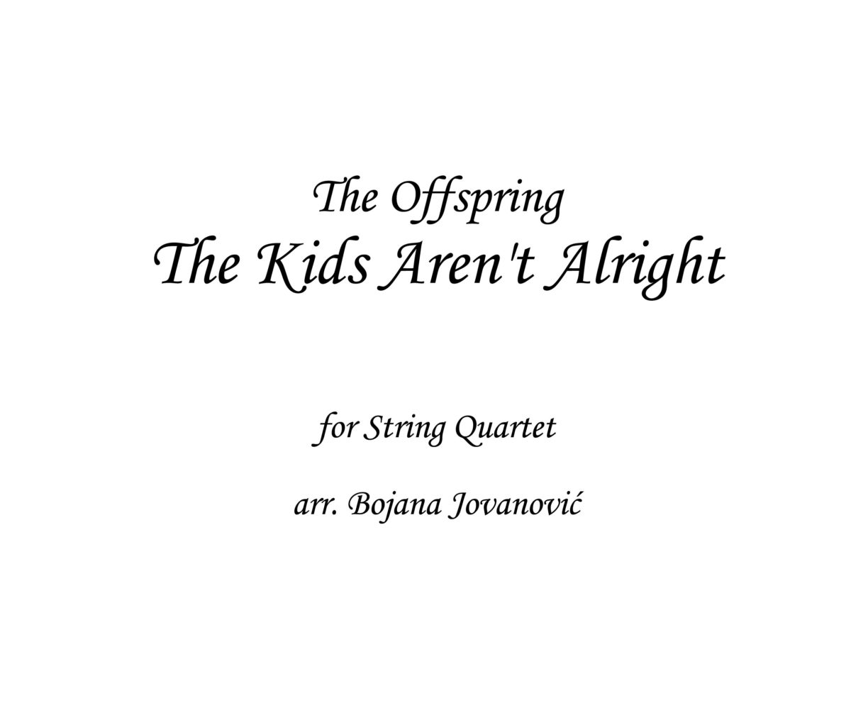 The Kids Aren't Alright The Offspring Sheet music