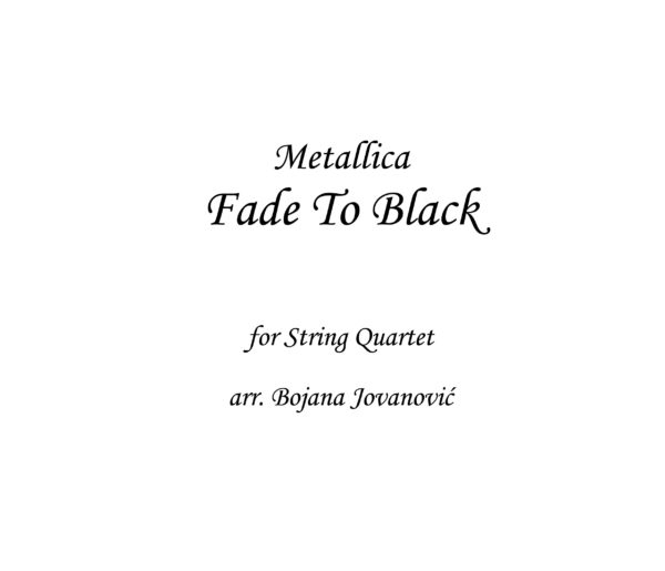Fade to Black Metallica Sheet music