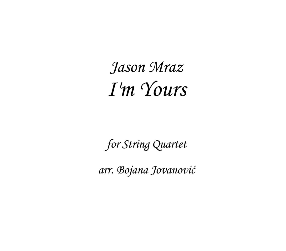 I'm Yours Jason Mraz Sheet music