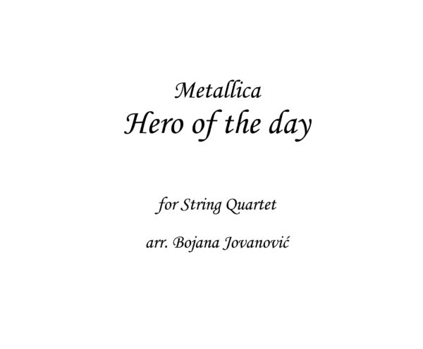 Hero of the day Metallica Sheet music